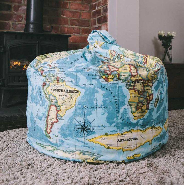Pins & Ribbons - World Map Atlas Bean Bags