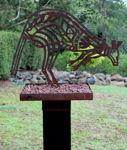 Michael Wilson - Wallaroo Free standing sculpture of Corten steel with scoria…