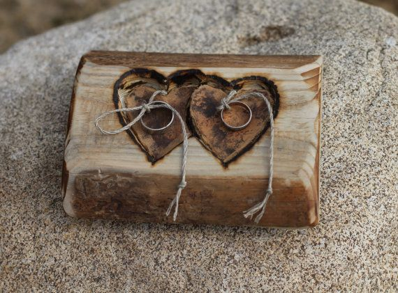 Rustic wood ring bearer pillow with two hearts. Could use woodburning for names and dates