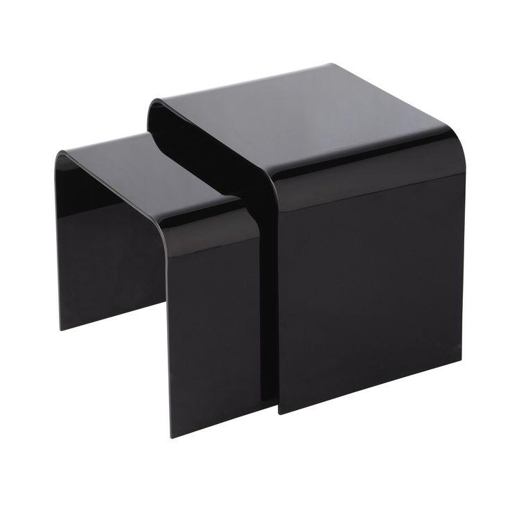 Tavolino da salotto nero in plexiglas L 40 cm COLUMBIA