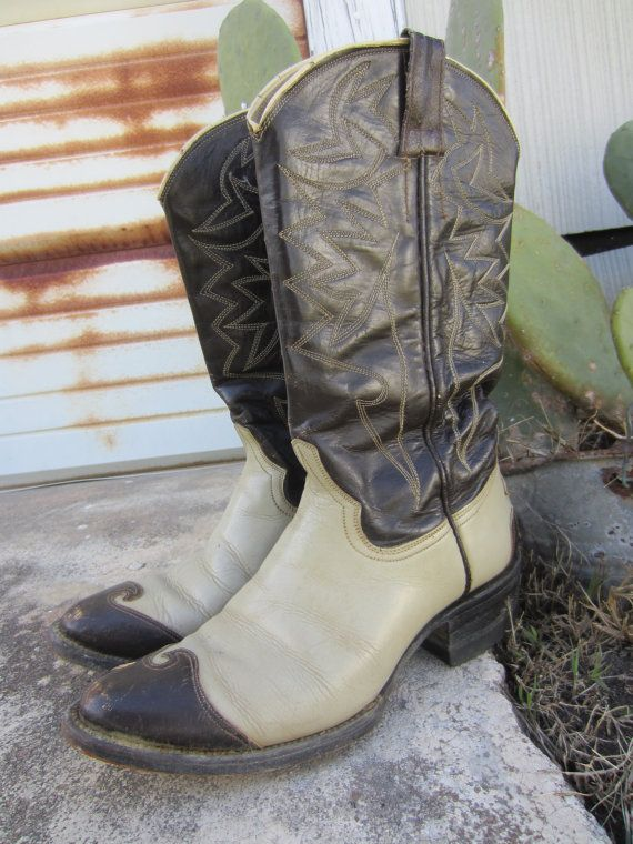 40s Custom Made Cowgirl Boots, US 7 EUR 37,5 UK 4,5 // Vintage Brown and Grey Leather Cowboy Boots // Western Boots