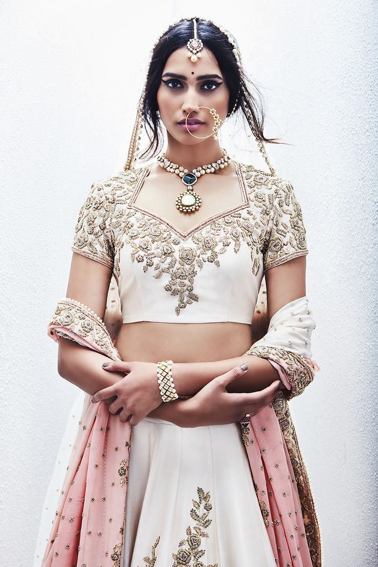 Champagne gold lehenga with embroidered roses
