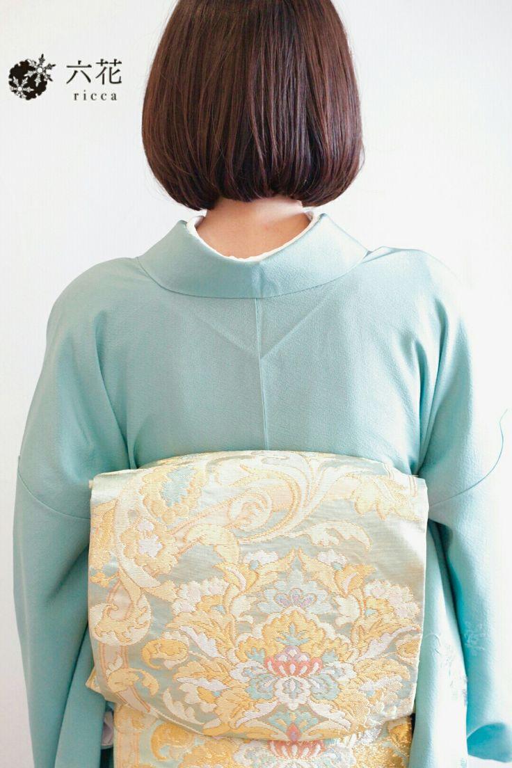 訪問着 着物レンタル・着付け 緑色蘇州刺繍