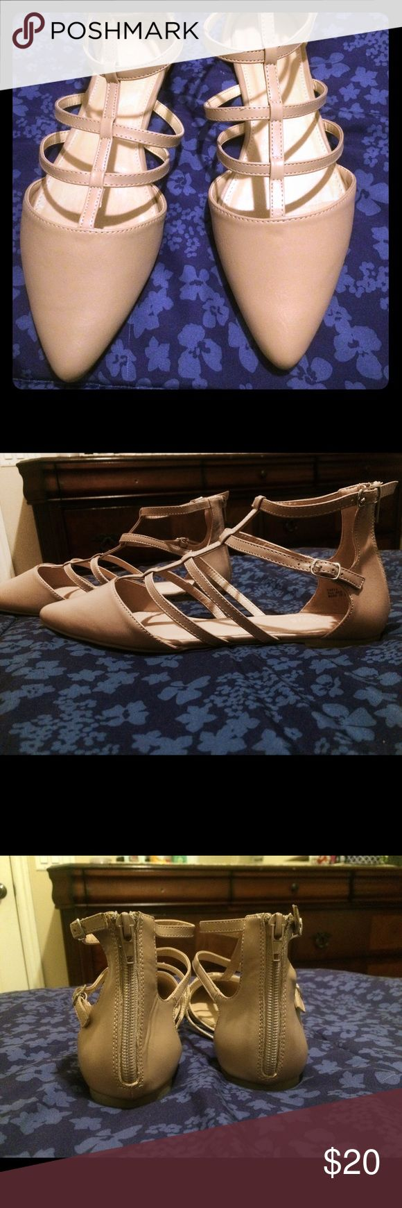 Nude pointed flats with straps Nude pointed flats are new without tags. Never worn. Size 9 Shoes Flats & Loafers