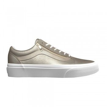 Vans Damen Old Skool Zip Sneaker (Metallic Leder) Gold/ Weiß (Wheat Gold/True White)