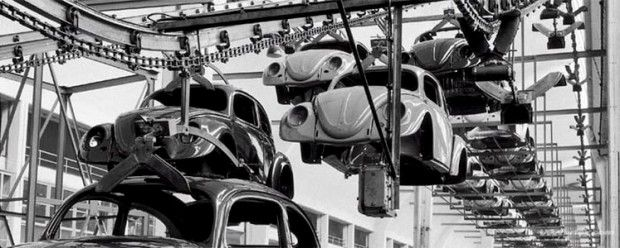 In a Volkswagen Factory, 1953 (1) (I just love this picture of flying bugs lol)