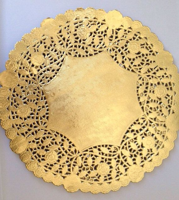 Gold paper doilies inch ornate used
