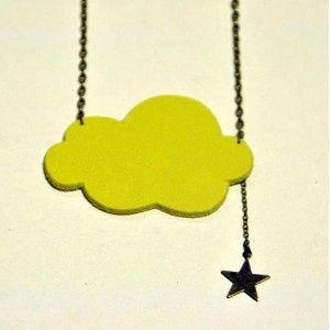 Idee pour collier en pâte fimo avec emporte pièce nuage