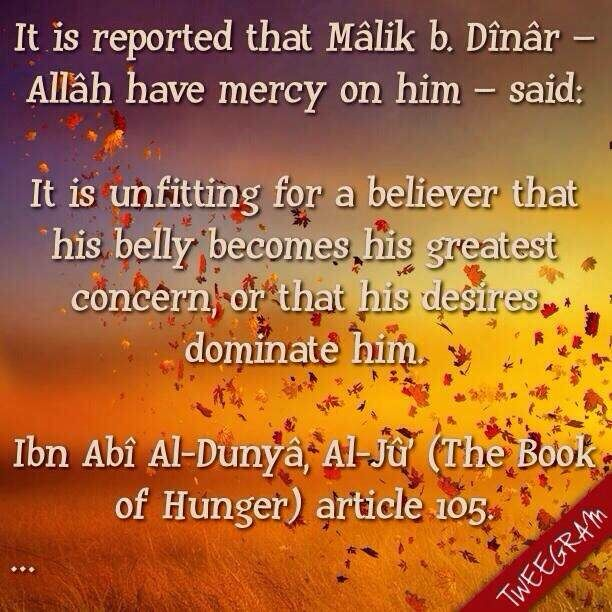 Having great concern for belly and desires ~ Information about Islam