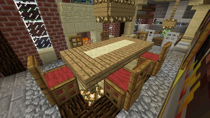 Minecraft Furniture - Chairs (and table with runner) - Wool base, plus trap door legs and a full door back - very elegant. The table is constructed of slabs, with a contrasting slab type running down the center.