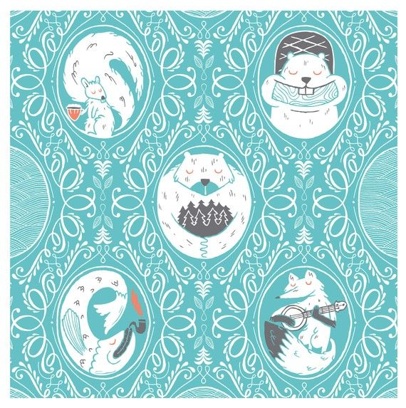 Woodland creatures on a pretty blue patterned background.