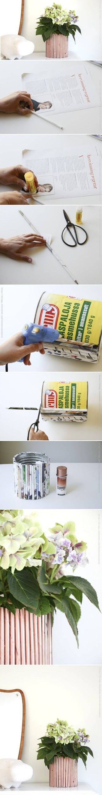 DIY : Newspaper Decor Flower Pot. There are so many thing you can make to decorate your home with out having to spend so much money.