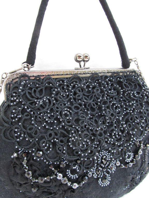 """Купить """" Тайна Коко Шанель"""" - черный, абстрактный, коко шанель, сумка из войлока, Валяние"""