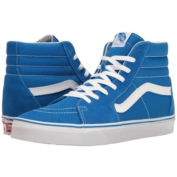 Vans SK8-Hi ((Suede/Canvas) Imperial Blue/True White) Skate Shoes ($65) ❤ liked on Polyvore featuring shoes, sneakers, blue canvas sneakers, suede sneakers, white sneakers, white skate shoes and canvas shoes