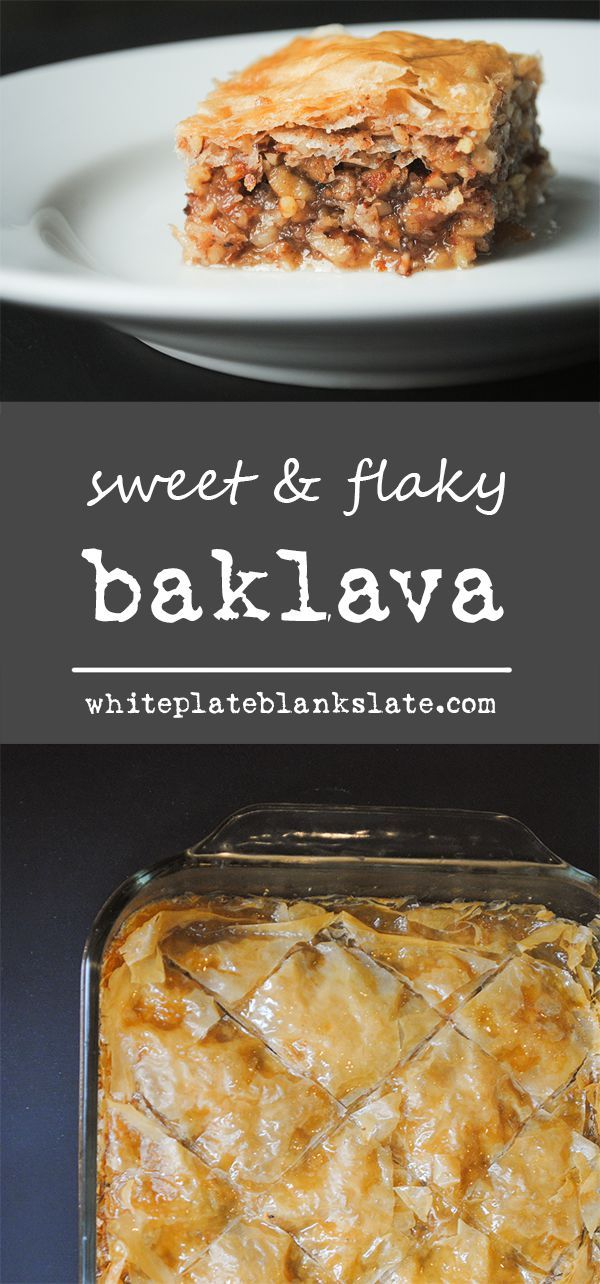 Sweet and flaky baklava in a phyllo crust with honey and walnuts.