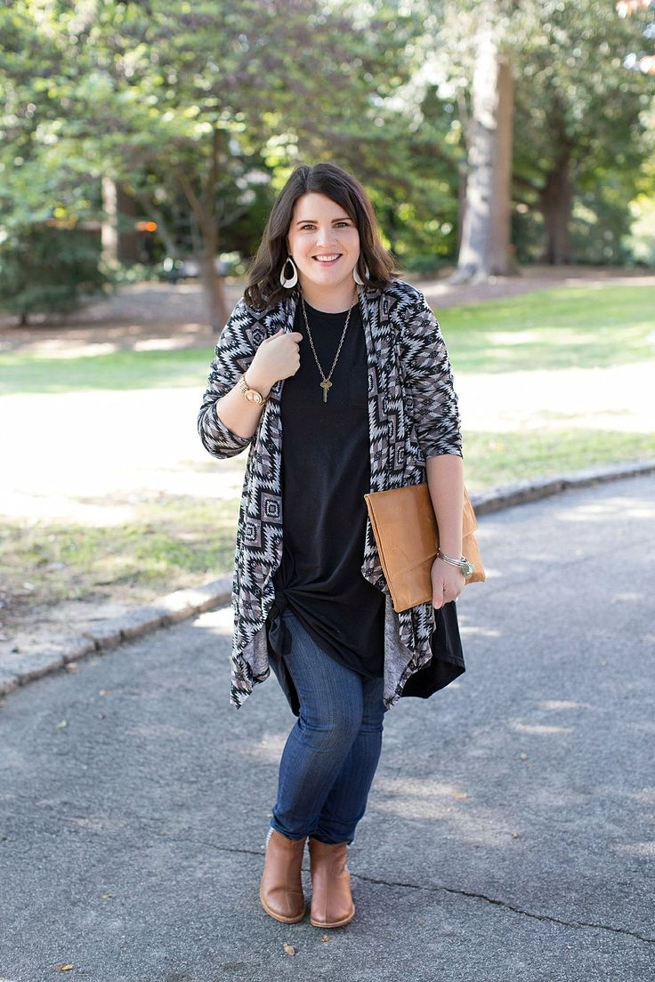 Lularoe Carly dress, skinny jeans, The Root Collective Espe booties, The Flourish Market cardigan (2)
