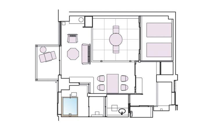 豊かなつながりがある、ワンルーム客室   ホテル・旅館のリノベーションは石井建築事務所・熱海/リフォーム・改修・改築・設備投資
