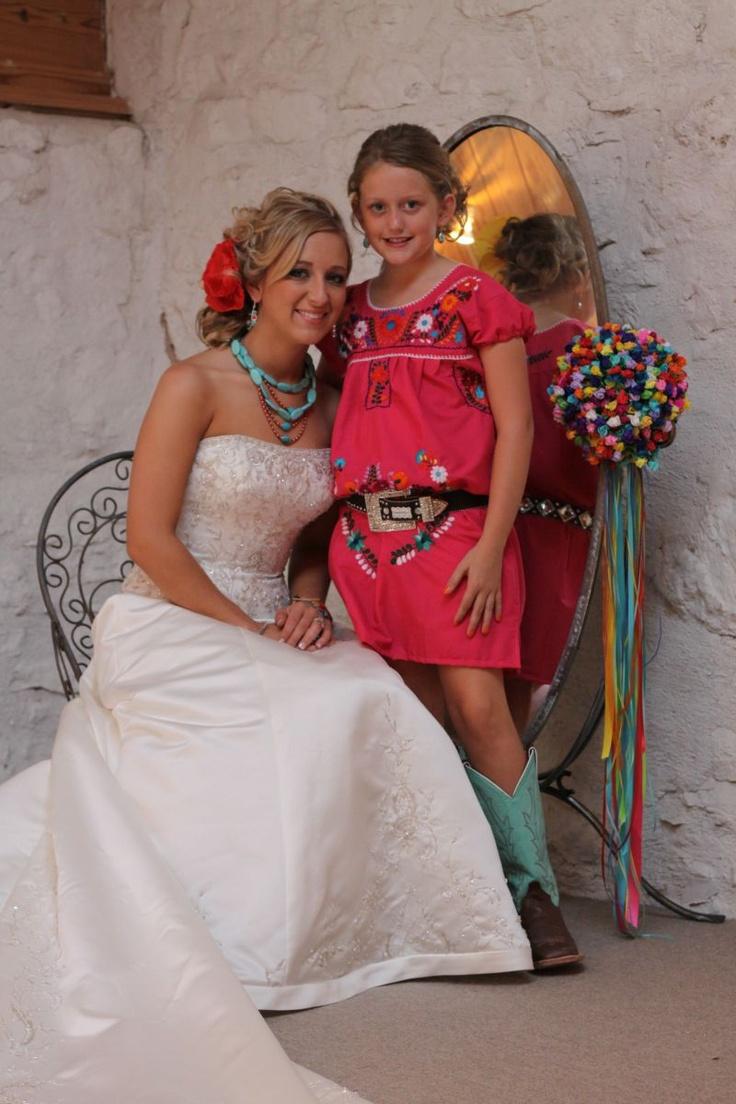 Bride & flowergirl!  Mexican Fiesta Themed Wedding!
