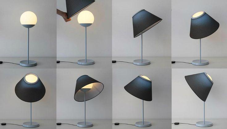 Cappuccina, la nuova lampada di Luceplan, il paralume resta appoggiato e questo permette tutta una serie di sistemazioni per direzionare il fascio luminoso.
