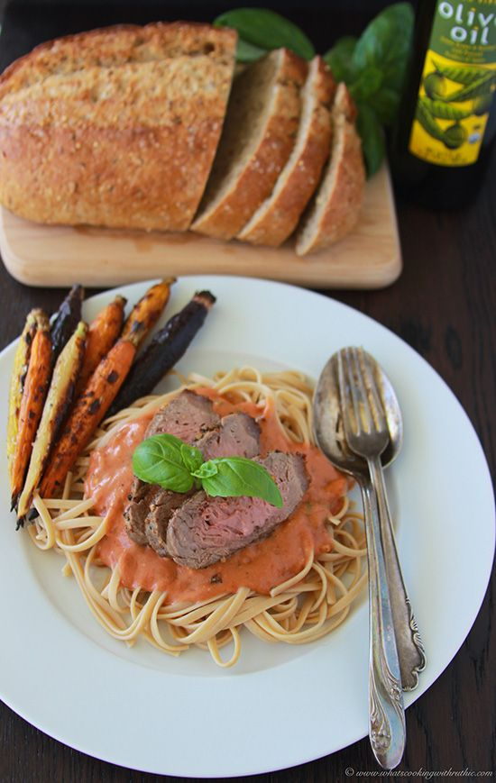 Steak and Linguini Pasta with Creamy Tomato Basil Sauce