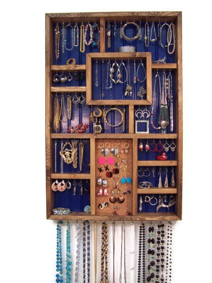 Wall Jewelry Organizer by barbwireandbarnwood on Etsy, $128.00