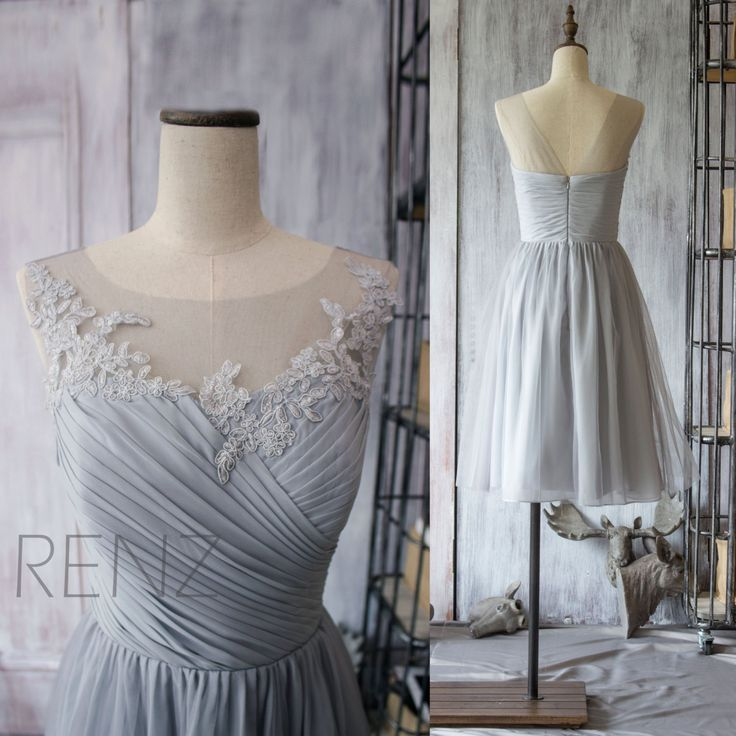 2015 Chiffon Bridesmaid Dress,Grey Cocktail Dress,Gray Tea Length Dress,Short Prom Dress,Lace Neck Formal Dress (F149)-Renz by RenzRags on Etsy https://www.etsy.com/listing/224343114/2015-chiffon-bridesmaid-dressgrey
