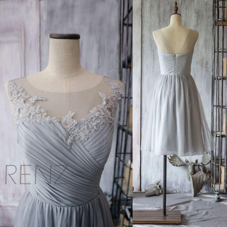 2015 Chiffon Bridesmaid Dress,Grey Cocktail Dress,Gray Tea Length Dress,Short Prom Dress,Lace Neck Formal Dress (F149)-Renz by RenzRags on Etsy https://www.etsy.com/listing/224343114/2015-chiffon-bridesmaid-dressgrey