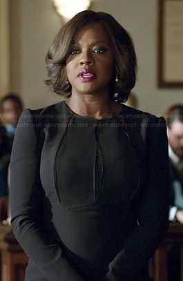 Annalise's black long sleeved dress with cutouts on How to Get Away with Murder.  Outfit Details: http://wornontv.net/44932/ #HTGAWM