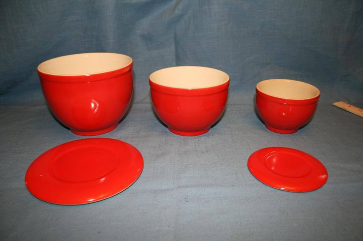 Set of 3 Red Mixing Bowls with Lids, Universal Cambridge USA Oven Proof Pottery Nesting Bowls by ThePinkVintageRose on Etsy
