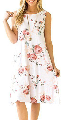 81507b7cb2b4d7 ETCYY Women s Summer Casual Sleeveless Floral Printed Swing Dress Sundress  with Pockets White X-Large