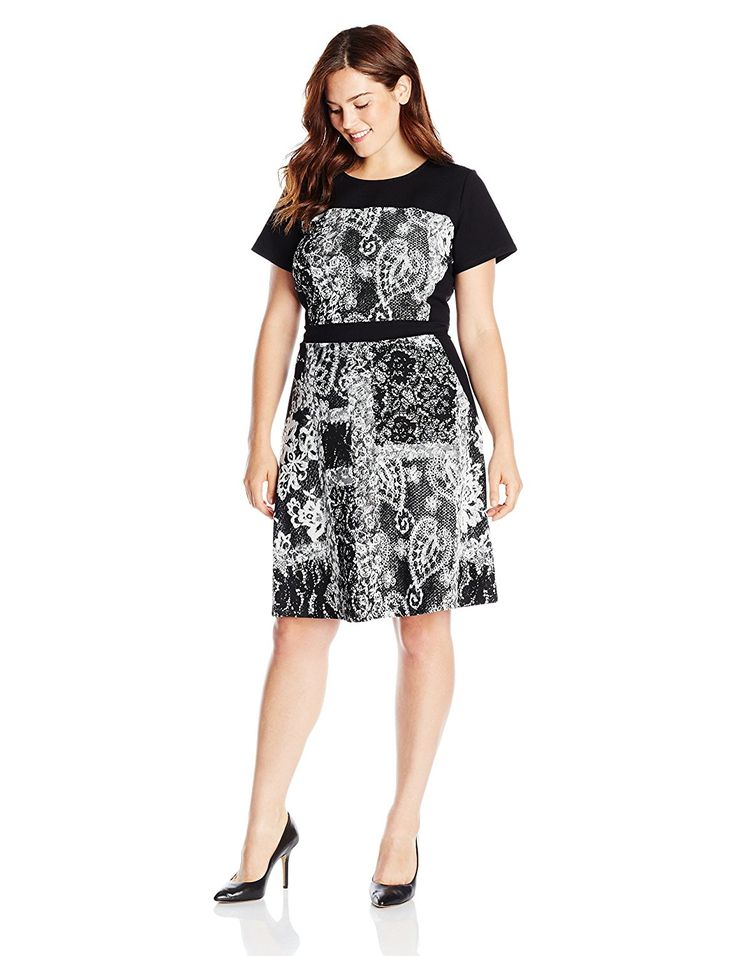 Adrianna Papell Women's Plus-Size Scoop Neck Cap Sleeve Flare Dress -- Awesome product. Click the image : Plus size dresses