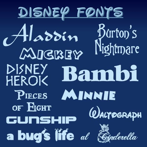 Add a Touch of Magic With These 10 Disney Fonts http://www.brighthub.com/multimedia/publishing/articles/80104.aspx#