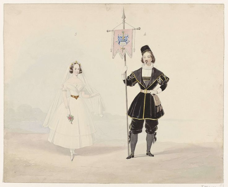 Huib van Hove Bz   Man en vrouw in historisch kostuum, 1841, Huib van Hove Bz, 1841   Man en vrouw in historisch kostuum. Vrouw in witte bruidsjurk, man met vaandel. Kostuums gedragen op het gekostumeerde bal gehouden te Den Haag op 17 en 19 februari 1841 bij het 25-jarig huwelijk van koning Willem II en Anna Paulowna. Platen naar sommige van deze voorstellingen komen voor in een album over dit bal.