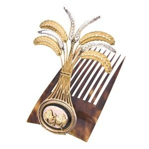 Interesting Georgian hair ornament. Natalie Ferguson's note: might this comb be worn at the front of the head, so that the ornament sticks up like an aigrette? Perfect for wear with a turban.