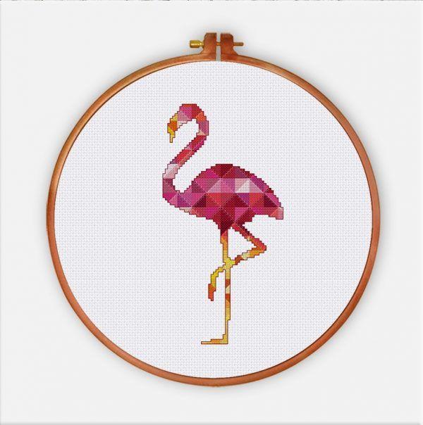 Geometric Flamingo cross stitch pattern modern bird nursery design
