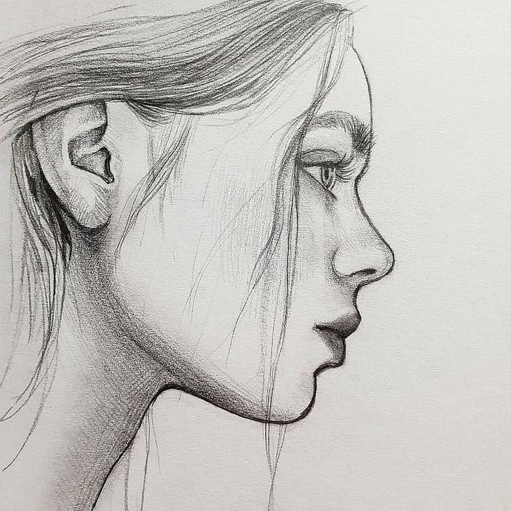 Картинки карандашом в профиль девушки