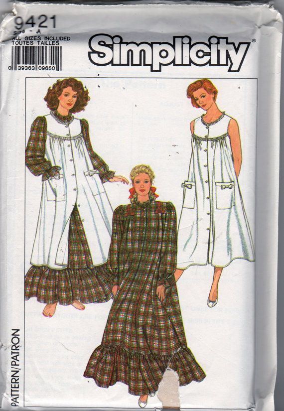 Simplicity 9421 1980s Misses Granny Flannel Nightgown And