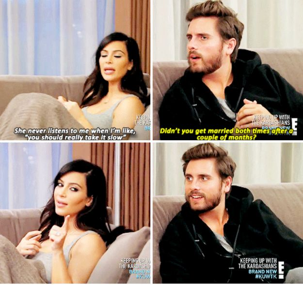 When she tried to give Kris relationship advice and Scott reminded her of her dating history. | 26 Times Kim Kardashian Was Shut Down By Her Own Family