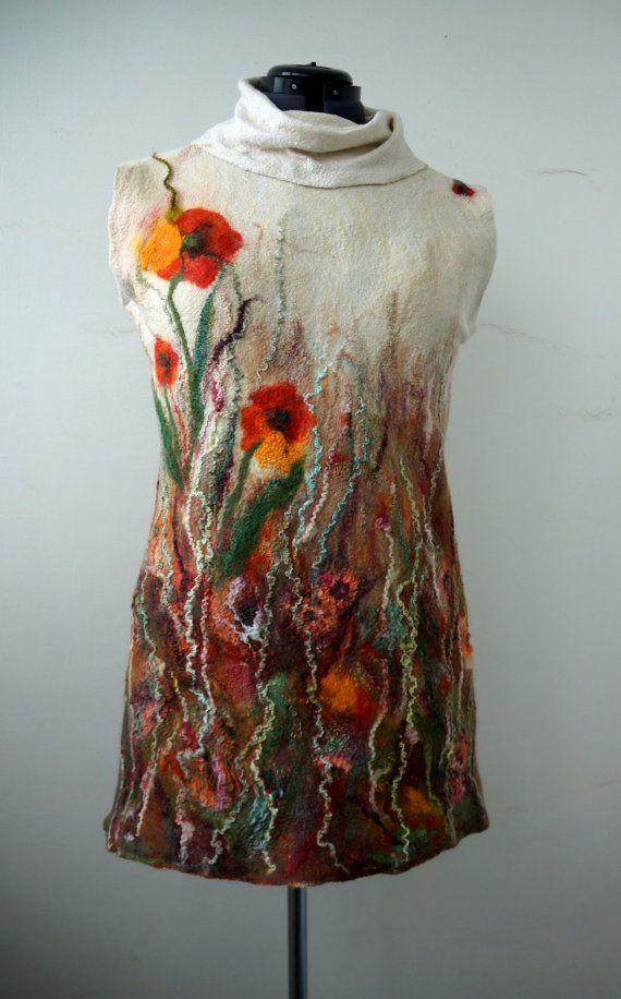 Felted tunic dress poppies autumn fashion от FfeltT на Etsy