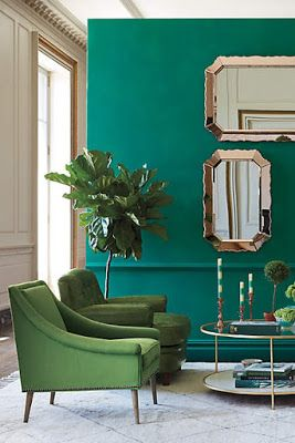 Green decoration. #design #colour #ambience trends, design trends, colors inspiration. See more at http://www.brabbu.com/en/inspiration-and-ideas/category/trends