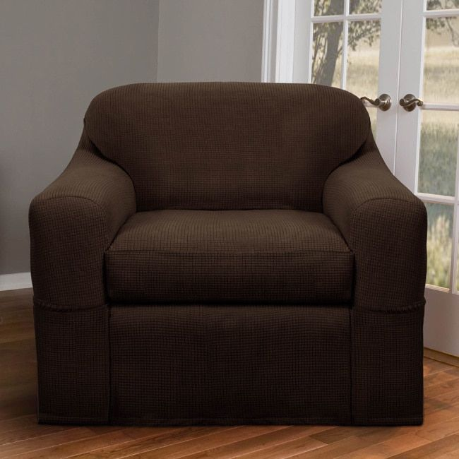Maytex Reeves Stretch 2-piece Chair Slipcover (Chocolate), Brown (Solid)