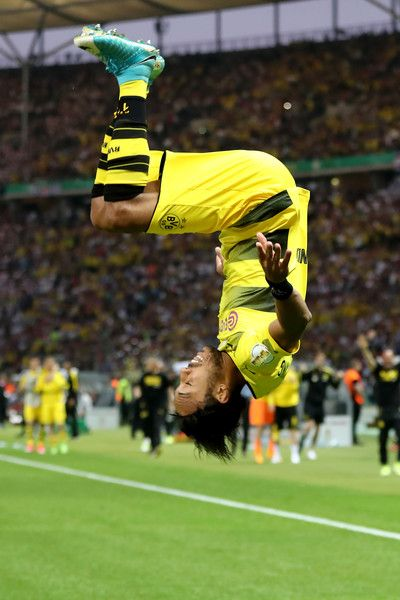 Pierre-Emerick Aubameyang of Dortmund celebrates after scoring his team's second goal from the penalty spot with a summersault during the DFB Cup final match between Eintracht Frankfurt and Borussia Dortmund at Olympiastadion on May 27, 2017 in Berlin, Germany.