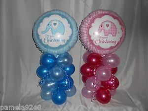 NEW GIRLS BOYS CHRISTENING BALLOON TABLE DECORATION DISPLAY PINK/WHITE