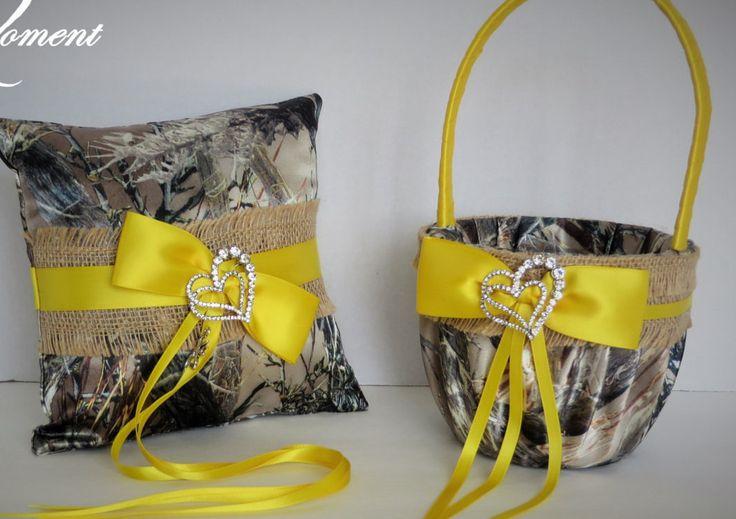 Burlap Wedding Flower Girl Basket, Yellow camo Wedding Ring Bearer Pillow