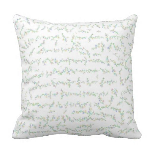 #Florals #ThrowPillow .  Without a close up look at this design, it is hard to see the petite tiny flowers that gives this throw pillow it's charm.  The flowers are multi colours, tiny and pretty abstract.