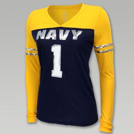 Navy Women's Sequin Long Sleeve V- Neck Tee