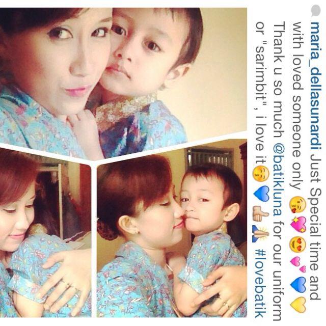 Mom and son with MEDELLINE dress batik series terimakasih banyak