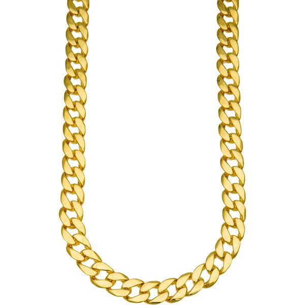 H.H.B The 15MM Jumbo Cuban Chain Necklace in Gold ($31) ❤ liked on Polyvore featuring mens, men's jewelry, necklaces y gold
