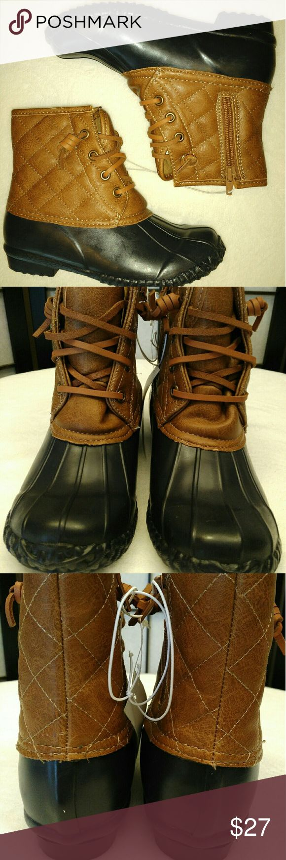 NWT Girls Wellie Jellie Duck Boots New and super cute! Without box. Enjoy! :) Navy & brown. Stevies Shoes Rain & Snow Boots