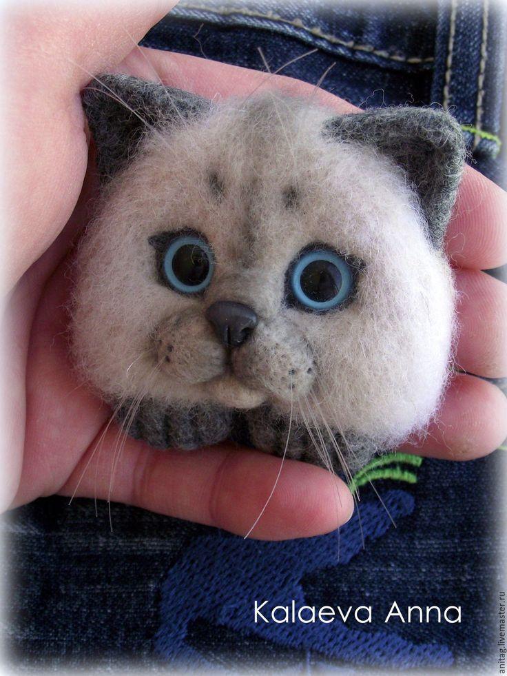 Купить Сиамский котик,брошь,брошь для кармана - комбинированный, котик, котик из шерсти, котоброшь, котенок